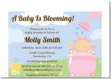 Blooming Baby Girl Caucasian - Baby Shower Petite Invitations