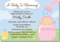 Blooming Baby Girl Caucasian - Baby Shower Invitations