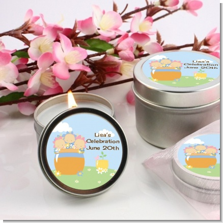 Blooming Baby Triplets Caucasian - Baby Shower Candle Favors