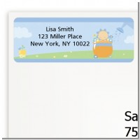 Blooming Baby Boy Caucasian - Baby Shower Return Address Labels