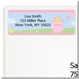Blooming Baby Girl Caucasian - Baby Shower Return Address Labels