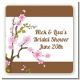 Blossom - Square Personalized Bridal Shower Sticker Labels thumbnail