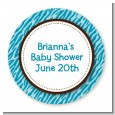 Zebra Print Blue - Round Personalized Baby Shower Sticker Labels thumbnail