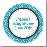 Zebra Print Blue - Round Personalized Baby Shower Sticker Labels