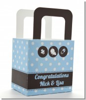 Modern Baby Boy Blue Polka Dots - Personalized Baby Shower Favor Boxes