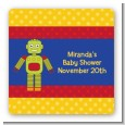 Robot Party - Square Personalized Birthday Party Sticker Labels thumbnail