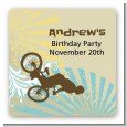 BMX Rider - Square Personalized Birthday Party Sticker Labels thumbnail