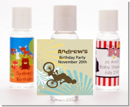 BMX Rider - Personalized Birthday Party Hand Sanitizers Favors