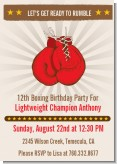 Boxing Gloves - Birthday Party Invitations