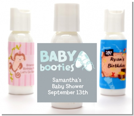Booties Blue - Personalized Baby Shower Lotion Favors