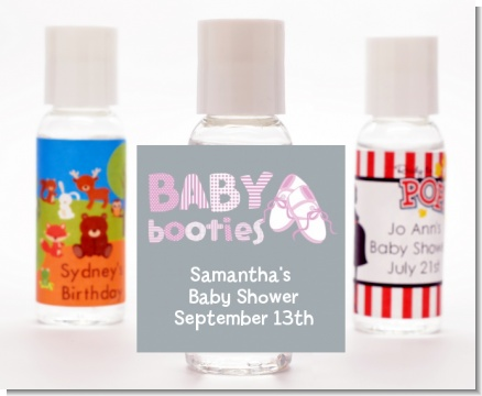 Booties Pink - Personalized Baby Shower Hand Sanitizers Favors