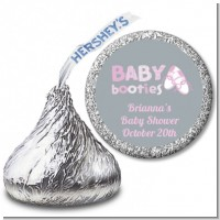 Booties Pink - Hershey Kiss Baby Shower Sticker Labels