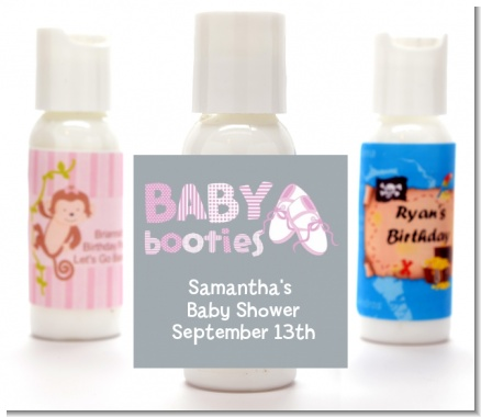 Booties Pink - Personalized Baby Shower Lotion Favors