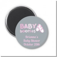 Booties Pink - Personalized Baby Shower Magnet Favors