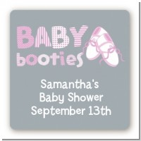 Booties Pink - Square Personalized Baby Shower Sticker Labels