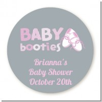Booties Pink - Round Personalized Baby Shower Sticker Labels