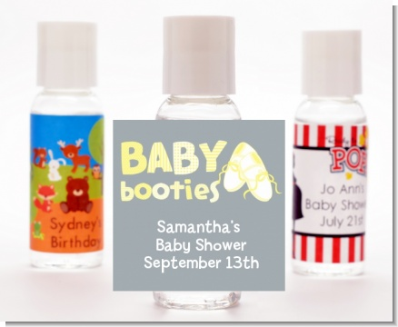 Booties Yellow - Personalized Baby Shower Hand Sanitizers Favors