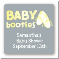 Booties Yellow - Square Personalized Baby Shower Sticker Labels