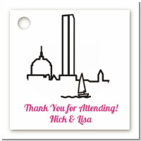 Boston Skyline - Personalized Bridal | Wedding Card Stock Favor Tags