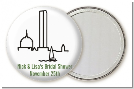 Boston Skyline - Personalized Bridal Shower Pocket Mirror Favors