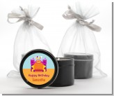 Bounce House Purple and Orange - Birthday Party Black Candle Tin Favors