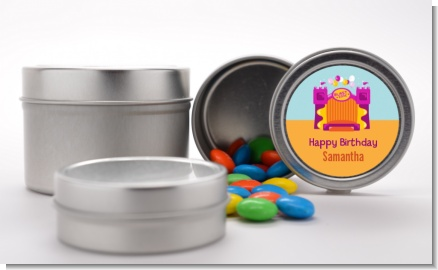 Bounce House Purple and Orange - Custom Birthday Party Favor Tins