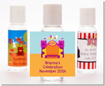 Bounce House Purple and Orange - Personalized Birthday Party Hand Sanitizers Favors
