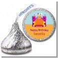Bounce House Purple and Orange - Hershey Kiss Birthday Party Sticker Labels thumbnail