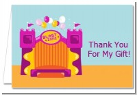 Bounce House Purple and Orange - Birthday Party Thank You Cards