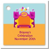 Bounce House Purple and Orange - Personalized Birthday Party Card Stock Favor Tags