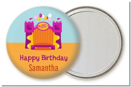 Bounce House Purple and Orange - Personalized Birthday Party Pocket Mirror Favors
