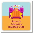Bounce House Purple and Orange - Square Personalized Birthday Party Sticker Labels thumbnail
