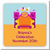 Bounce House Purple and Orange - Square Personalized Birthday Party Sticker Labels