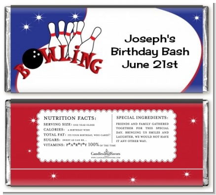 Bowling Boy - Personalized Birthday Party Candy Bar Wrappers