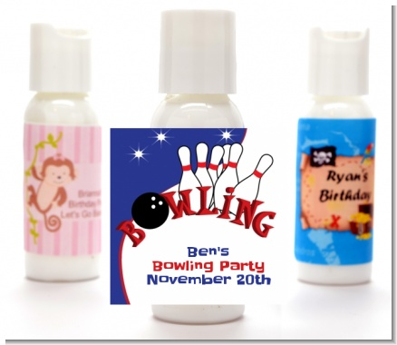 Bowling Boy - Personalized Birthday Party Lotion Favors