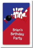 Bowling Boy - Custom Large Rectangle Birthday Party Sticker/Labels
