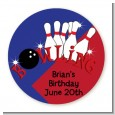 Bowling Boy - Round Personalized Birthday Party Sticker Labels thumbnail