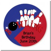 Bowling Boy - Round Personalized Birthday Party Sticker Labels