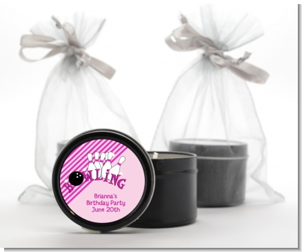 Bowling Girl - Birthday Party Black Candle Tin Favors