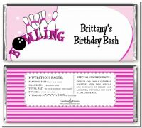 Bowling Girl - Personalized Birthday Party Candy Bar Wrappers