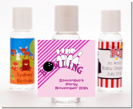Bowling Girl - Personalized Birthday Party Hand Sanitizers Favors