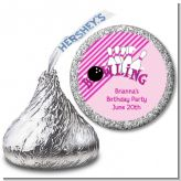 Bowling Girl - Hershey Kiss Birthday Party Sticker Labels