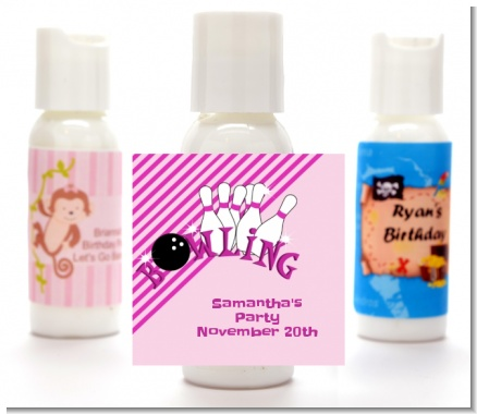 Bowling Girl - Personalized Birthday Party Lotion Favors