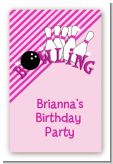 Bowling Girl - Custom Large Rectangle Birthday Party Sticker/Labels
