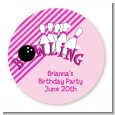 Bowling Girl - Round Personalized Birthday Party Sticker Labels thumbnail