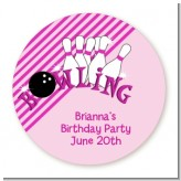 Bowling Girl - Round Personalized Birthday Party Sticker Labels