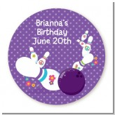 Bowling Party - Round Personalized Birthday Party Sticker Labels