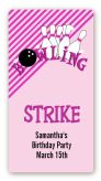 Bowling Girl - Custom Rectangle Birthday Party Sticker/Labels