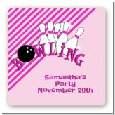 Bowling Girl - Square Personalized Birthday Party Sticker Labels