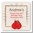 Boxing Gloves - Square Personalized Birthday Party Sticker Labels thumbnail